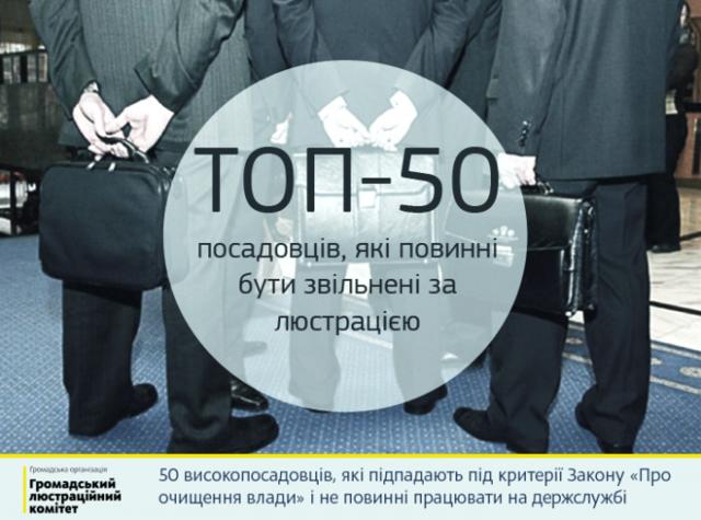 Громадський люстраційний комітет склав ТОП-50 посадовців, які повинні бути звільнені