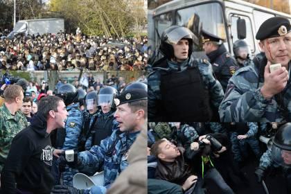По всей Москве массовые стычки кремлёвской хунты с «ополчением МНР»