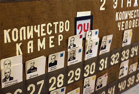 Ячейки с фамилиями и фотографиями пожизненно осужденных в ИК-1