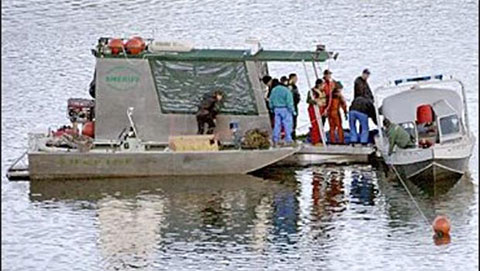 Поиск тел погибших в водохранилище Нью-Мелоунс